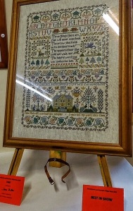 victorian style counted 'three things' cross stitch sampler