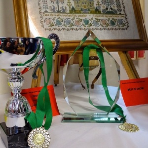 John Foster cup for 'mystery seed' and Best in Show Trophy for embroidery.
